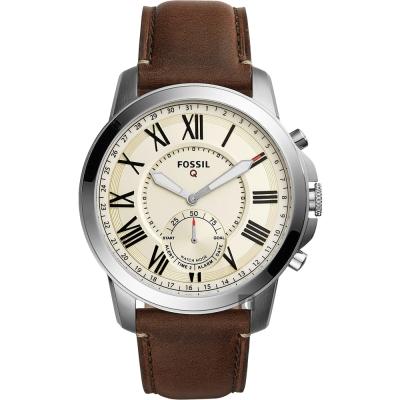FOSSIL Q Grant 指針式智慧型腕錶(FTW1118)-黃x咖啡/44mm