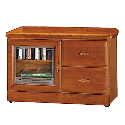 品家居 查雅3尺樟木紋單門二抽長櫃/電視櫃-89.6x45x60.5cm免組