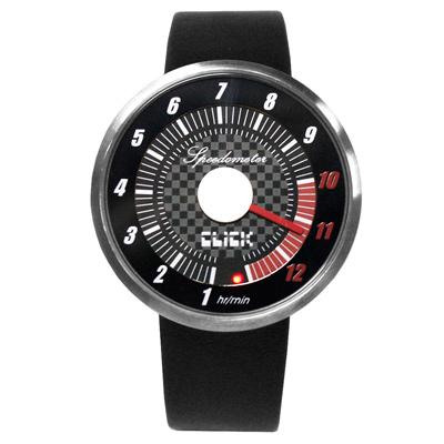 CLICK 飆速儀表個性皮帶錶-銀框黑/45mm