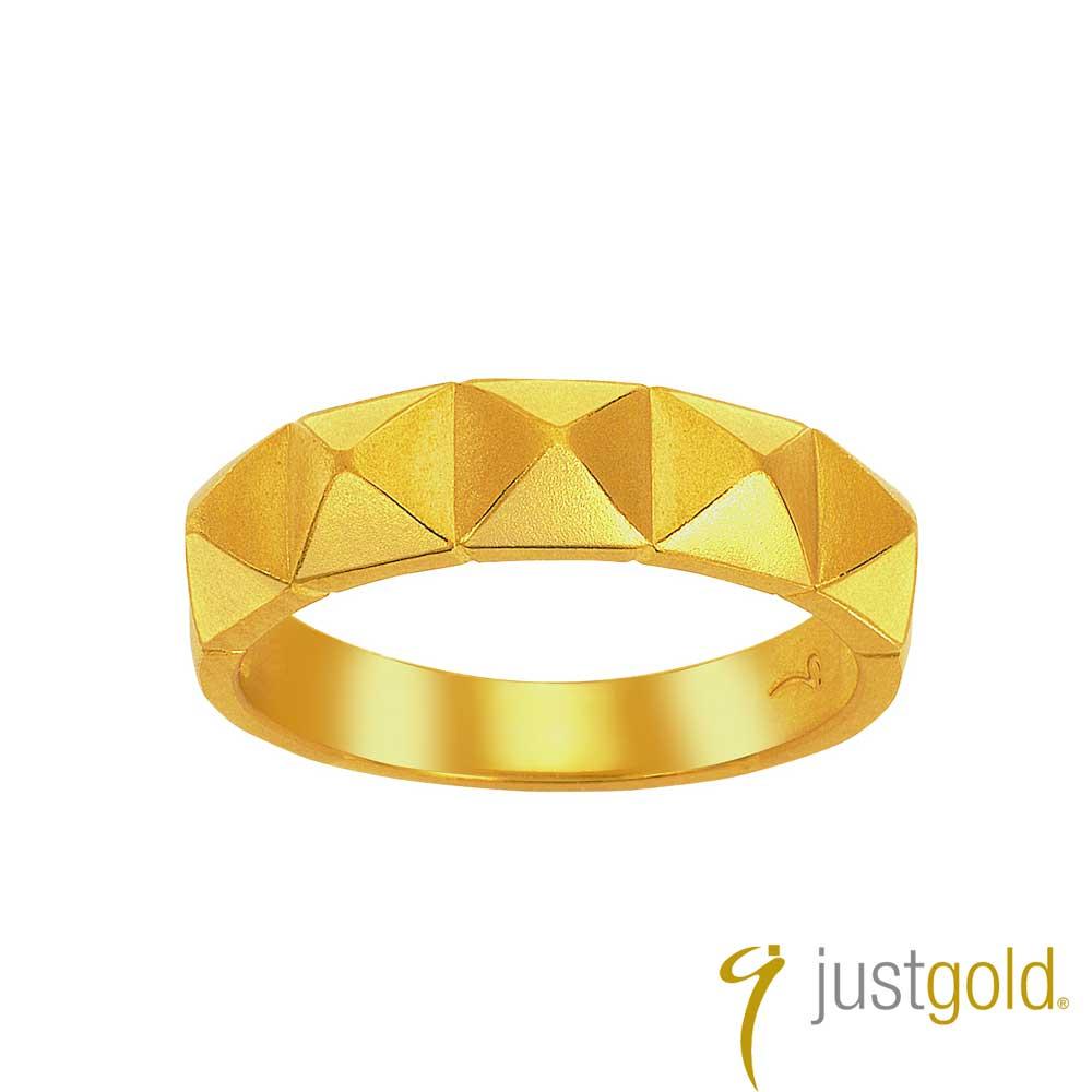 鎮金店Just Gold 搖滾鉚釘黃金線戒-寬版