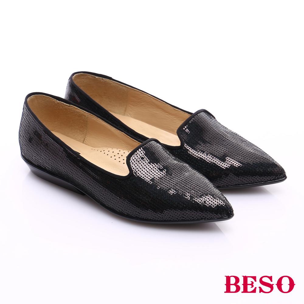 BESO 時尚核心 牛皮尖楦優雅樂福鞋 黑