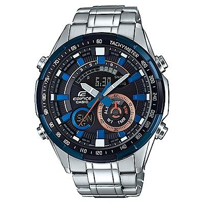 EDIFICE多層次錶盤時尚休閒不鏽鋼賽車錶-藍框(ERA-600DB-1)/47.1mm