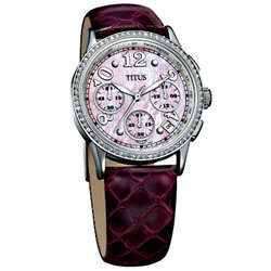 【TITUS】都會三眼淑女計時腕錶(粉紅)
