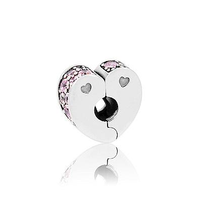 Pandora 潘朵拉 粉色鋯石心型夾釦式扁珠 純銀墜飾 串珠