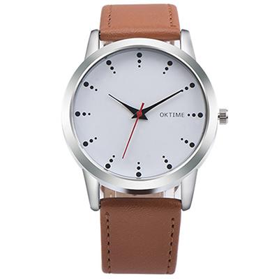Watch-123 有感旅行-經典回憶品味顏色情侶手錶-棕帶白面/38mm