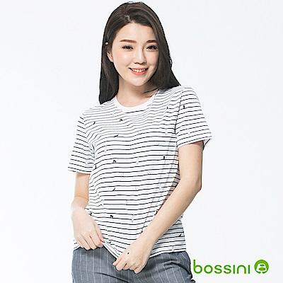 bossini女裝-印花圓領短袖上衣02白