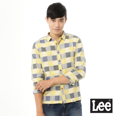 Lee 長袖襯衫 格紋和素面拼接 男款 黃格紋