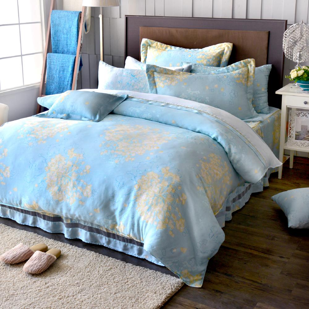 Saint Rose 溫雅臨風 雙人100%純天絲兩用被套床罩八件組