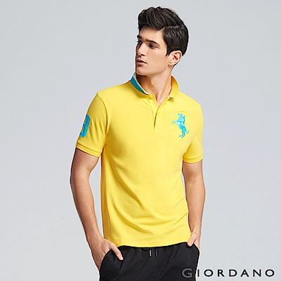 GIORDANO 男裝拿破崙立體刺繡彈力萊卡短袖POLO衫-18 鮮黃