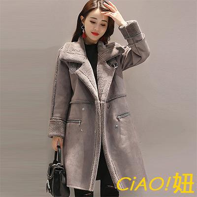 大翻領雙排釦麂皮绒長袖外套 (灰色)-CIAO妞