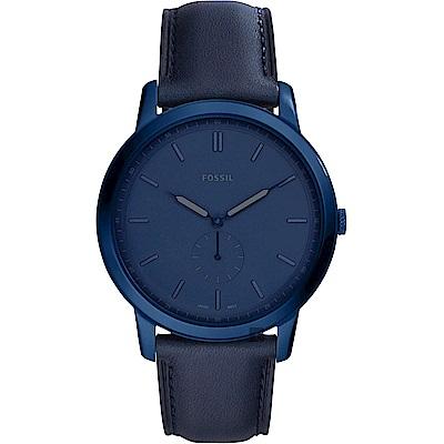FOSSIL Minimalist 薄型簡約小秒針手錶(FS5448)-藍色/44mm
