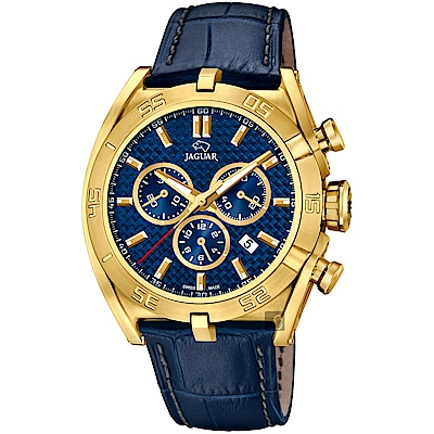 JAGUAR積架 EXECUTIVE 極速計時手錶-藍x金框/45.8mm