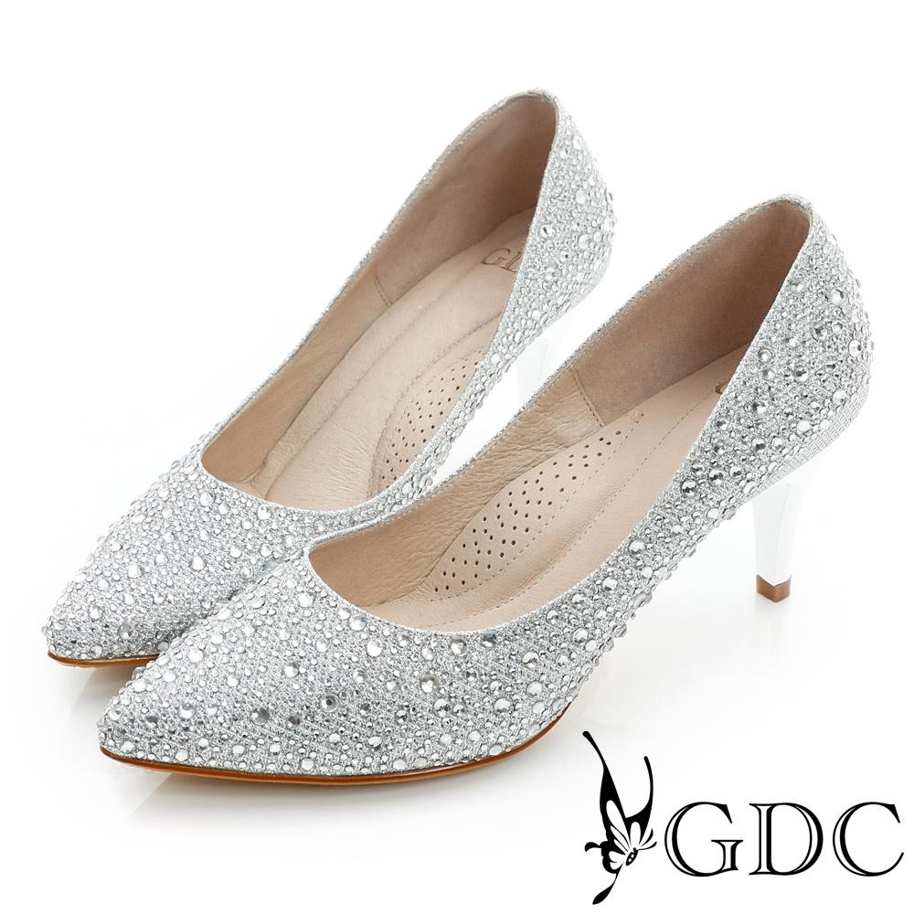 GDC幸福-色彩水鑽尖頭真皮中跟鞋(婚鞋)-銀色
