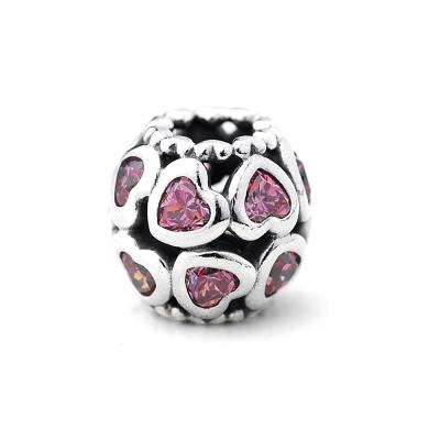 Pandora 潘朵拉 多個小愛心粉紅鋯石墜