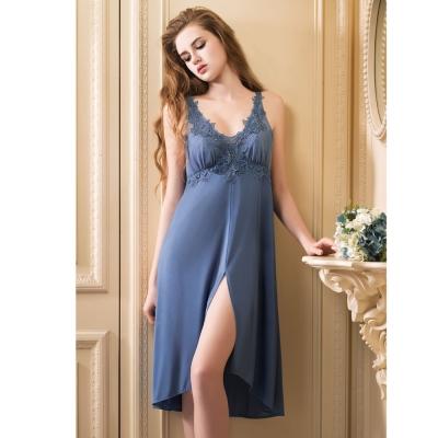 華歌爾睡衣 性感超細針織 M-LL  情人長版裙款(藍灰)