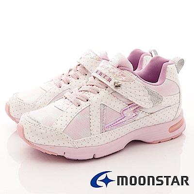 日本月星 頂級競速童鞋 甜心點點機能運動鞋 EI051 白 (中大童段)