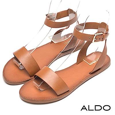 ALDO 原色真皮寬版金屬釦帶交叉繫踝木紋跟涼鞋~都會焦糖