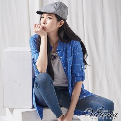 Victoria 格紋長袖長版襯衫-女-藍底白格
