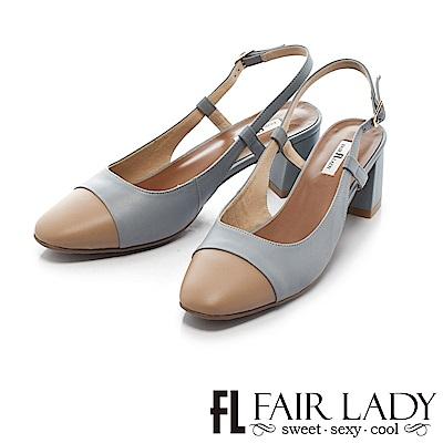 Fair Lady 優雅小姐Miss Elegant 復古雙色皮革粗跟涼鞋 藍