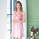 睡衣 彈性珍珠絲質高雅蕾絲性感睡衣(R76041-7豆沙粉)蕾妮塔塔