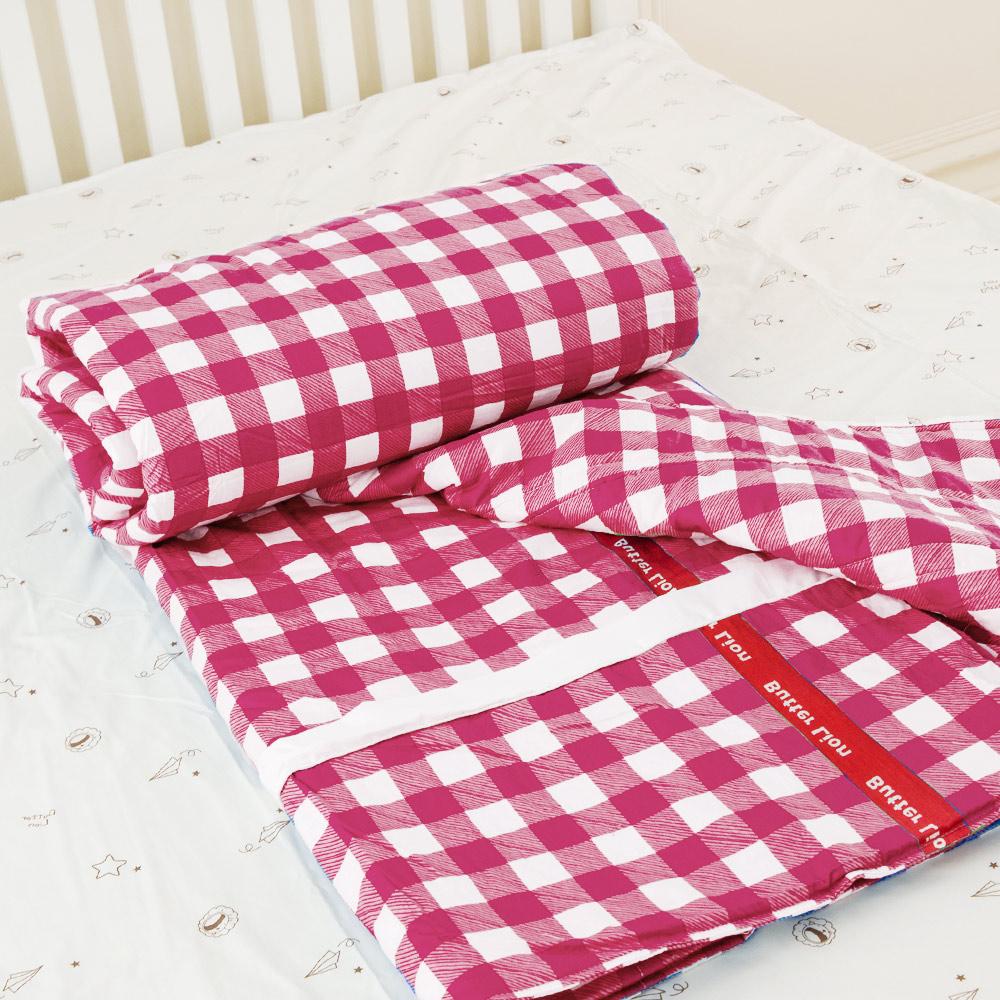 奶油獅-格紋系列-台灣製造-100%精梳純棉雙面薄被套-紅-單人