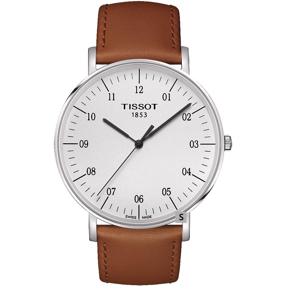 TISSOT 天梭 Everytime 雋永明朗大三針腕錶-白x咖啡/42mm