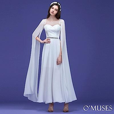 蕾絲V領雪紡袖長禮服-OMUSES