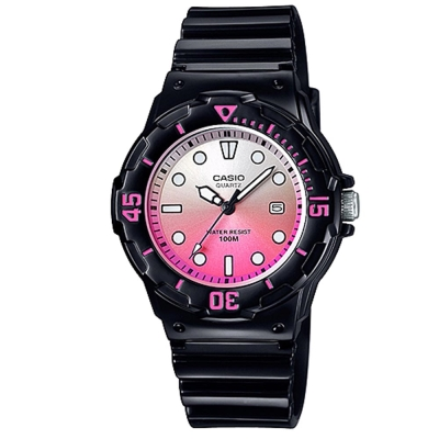 CASIO 渲染漸層設計迷你潛水風指針運動錶(LRW-200H-4E)黑x漸層粉紅32mm