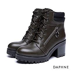達芙妮DAPHNE 短靴-圓釦拉鍊粗跟厚底綁帶軍靴-橄欖綠