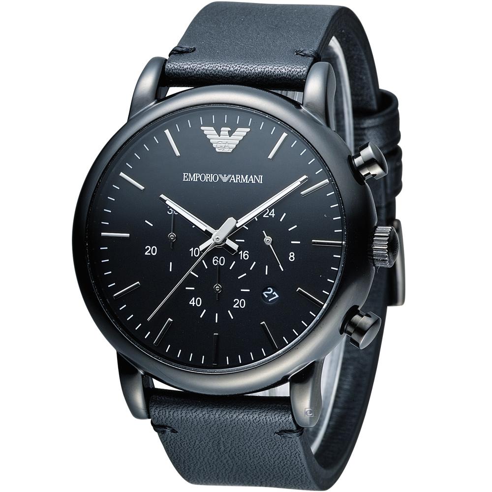 EMPORIO ARMANI Classic 英倫簡約風計時腕錶-黑/46mm