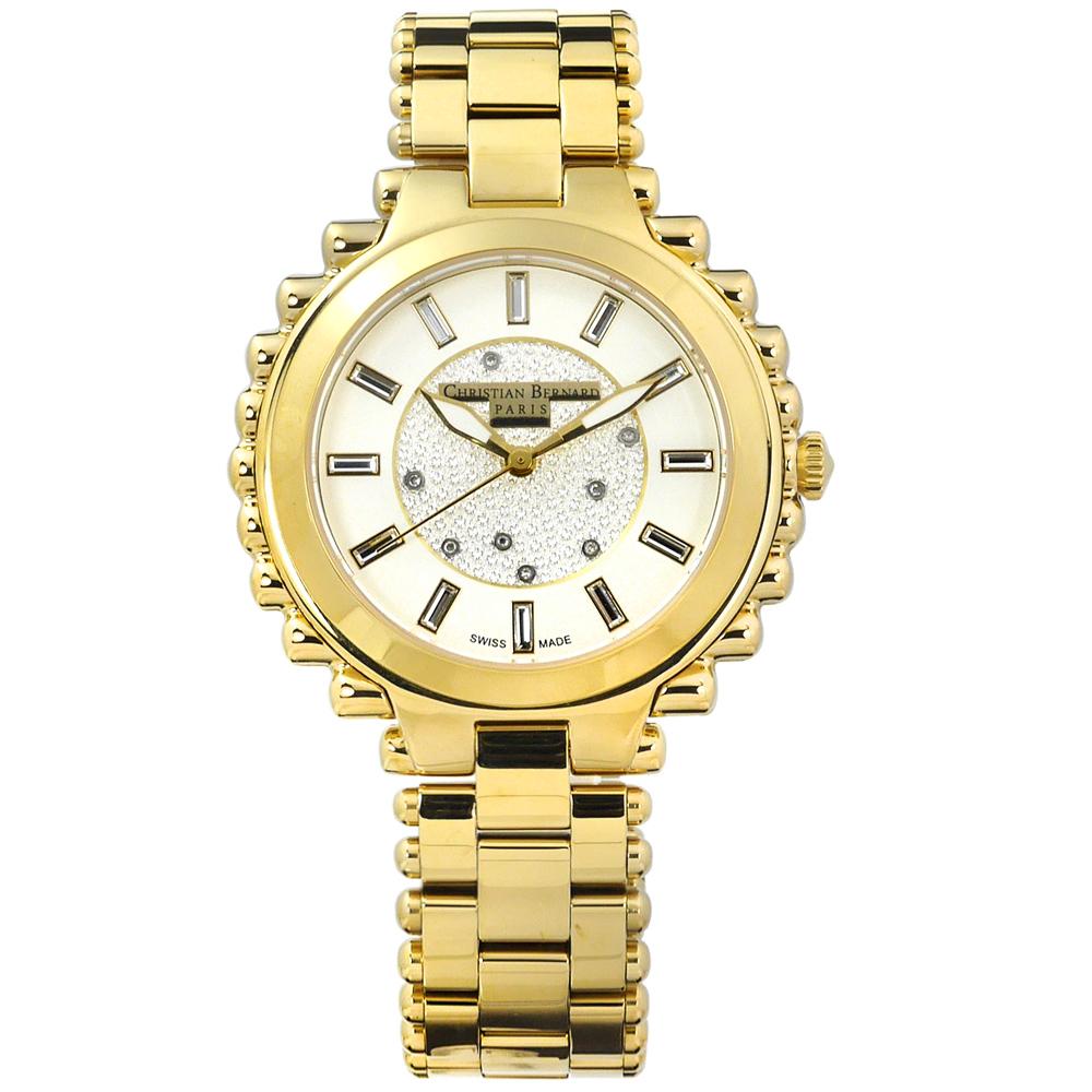 CHRISTIAN BERNARD 伯納錶真鑽棕櫚樹不鏽鋼手錶-米白x鍍金/38mm