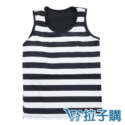束胸泳衣-百搭條紋無袖排鉤式泳衣褲組-S-XL-L