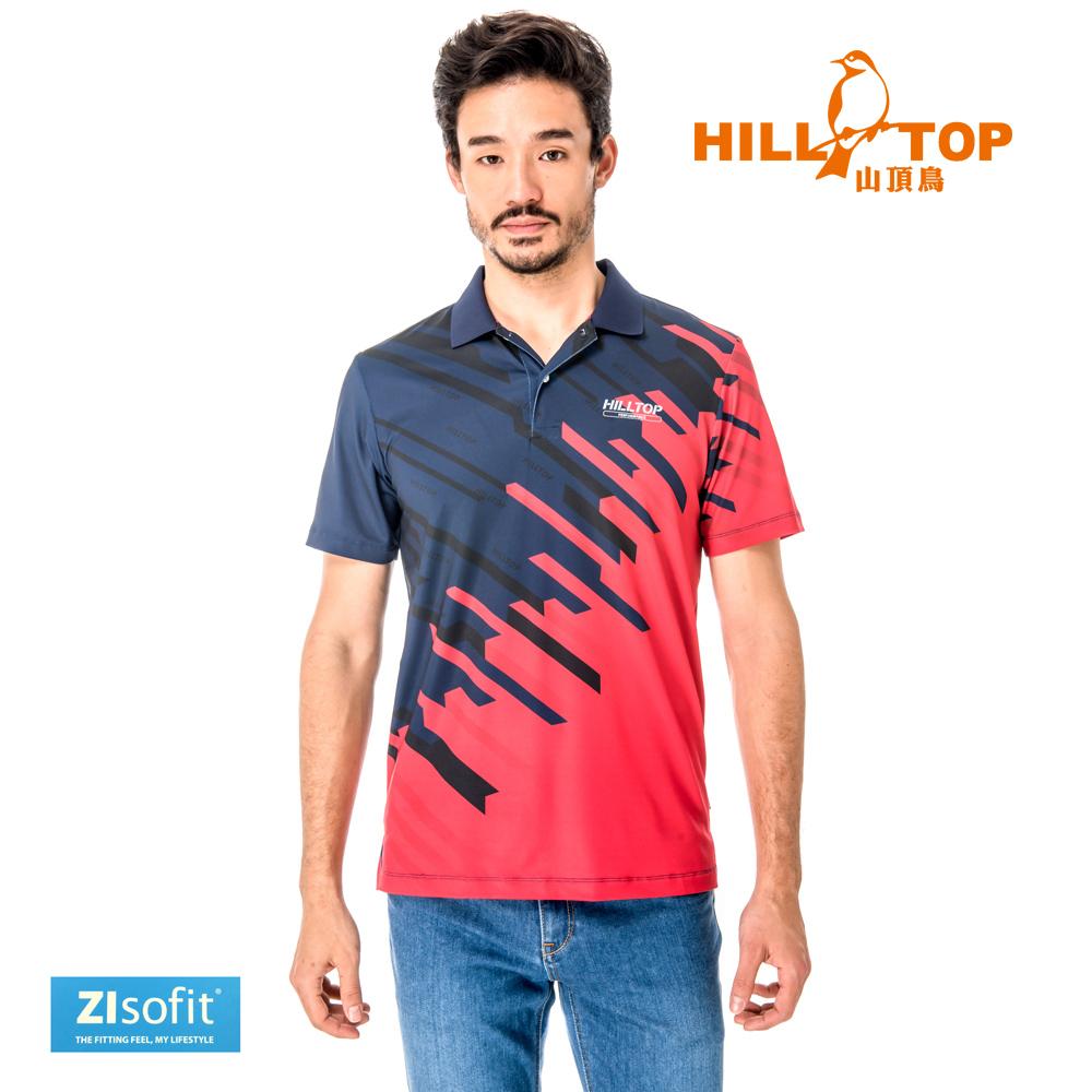 【hilltop山頂鳥】男款吸濕排汗抗UV彈性POLO衫S14MF7-紅印花