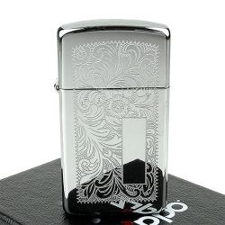 ZIPPO美系-Venetian威尼斯人雕花圖案設計-鍍鉻拋光鏡面打火機