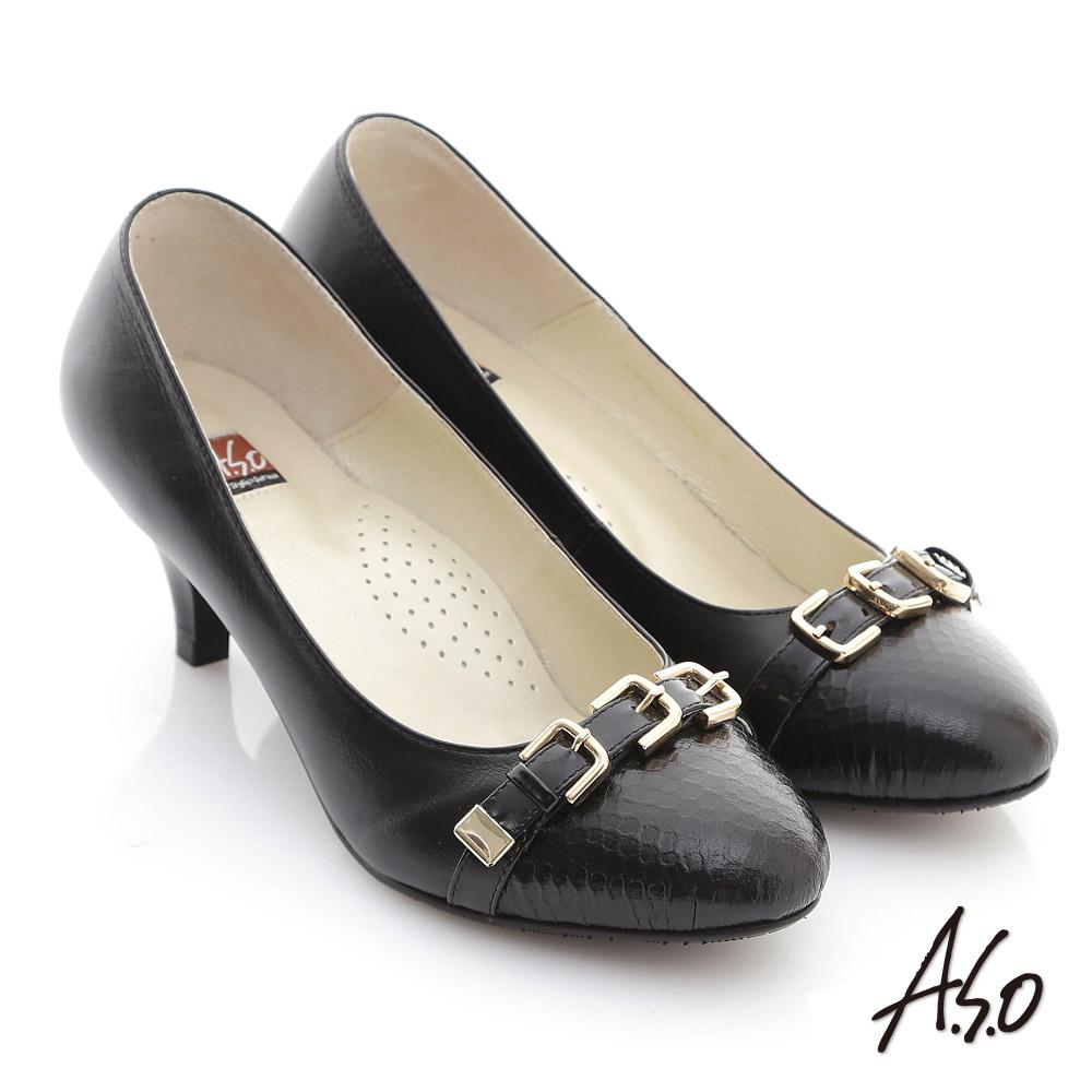 A.S.O 玩美彈麗II 全真皮壓紋金屬氣質跟鞋 黑