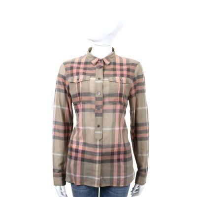 BURBERRY 卡其/粉色開襟細節設計格紋棉質襯衫