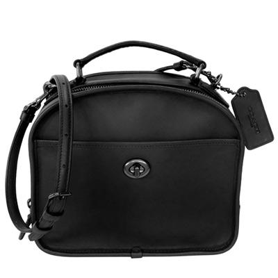 COACH黑色復古風全皮野餐盒造型手提/肩斜背包(中)