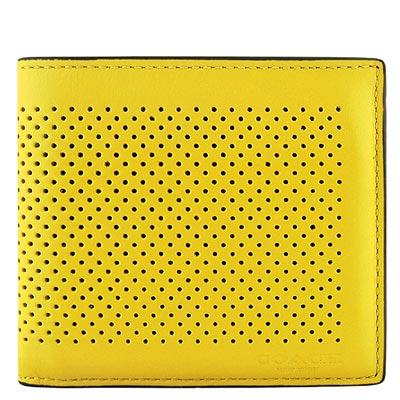 COACH-芥茉黃色皮革壓紋雙摺中夾
