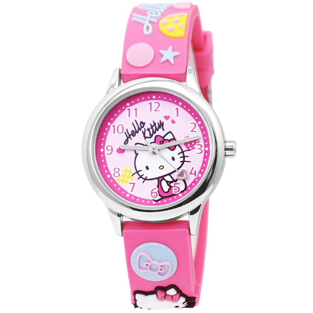 HELLO KITTY 凱蒂貓甜美可愛立體造型手錶-粉紅/29mm