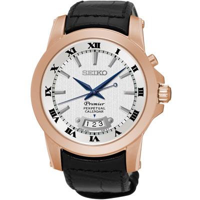 SEIKO Premier 藍寶石水晶萬年曆腕錶(SNQ152J1)-黑x玫瑰金/42mm