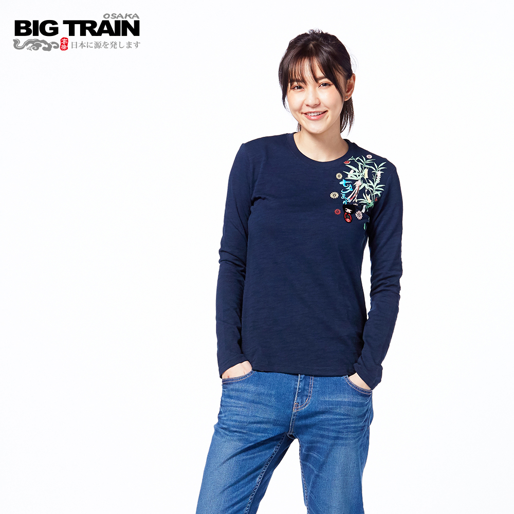 BIG TRAIN 七夕織姬長袖-女-深藍