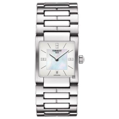 TISSOT天梭 T02 優雅真鑽女錶-珍珠貝x銀/23mm