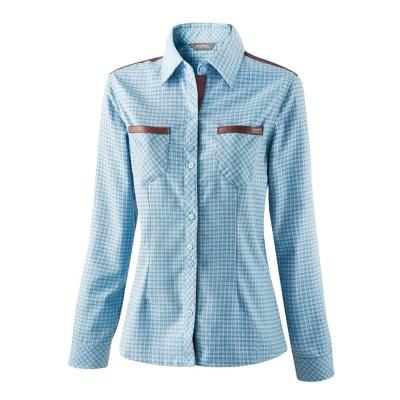 【ATUNAS 歐都納】女款保暖彈性長袖襯衫 A-S1219W 淺藍格