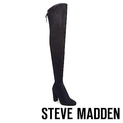 STEVE MADDEN-ELEKTRIC 後綁帶高跟過膝套靴-黑色