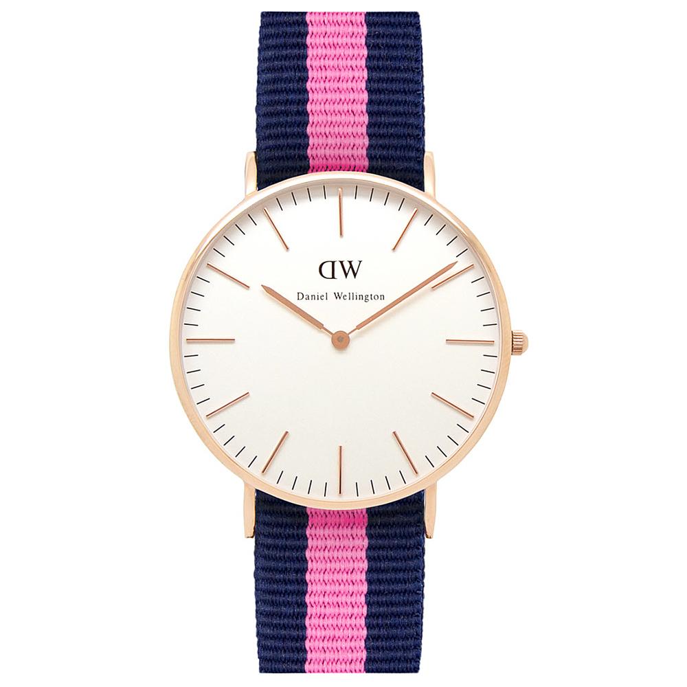 DW Daniel Wellington 藍粉紅尼龍錶帶 玫瑰金錶框/36mm