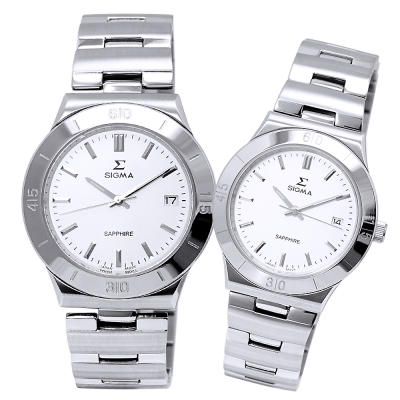 SIGMA 都會風情時尚情人對錶-白X銀/34/37mm
