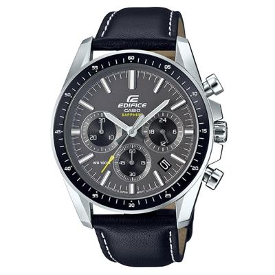 EDIFICE簡約新時尚沉穩設計藍寶石鏡面皮帶指針錶(EFB-570L-1A)-44.7mm