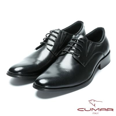 CUMAR舒適真皮 綁帶牛皮素面皮鞋-黑色