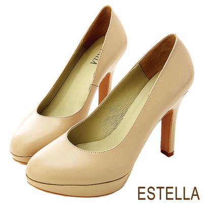 ESTELLA-台灣純手工-全真皮時尚厚底高跟鞋-可可