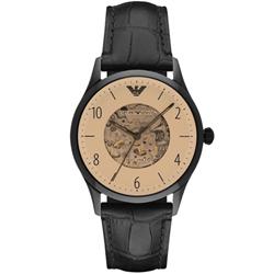 ARMANI 亞曼尼經典鏤空機械真皮手錶-香賓金X黑/41mm